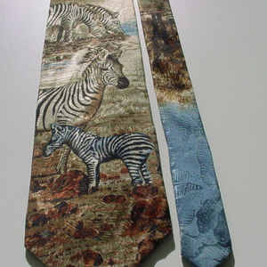 Endangered Species Zebra wildlife neck tie silk